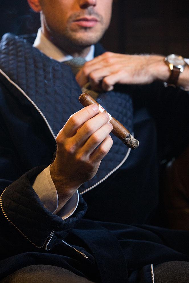 mens smoking jacket velvet robe shawl collar navy blue
