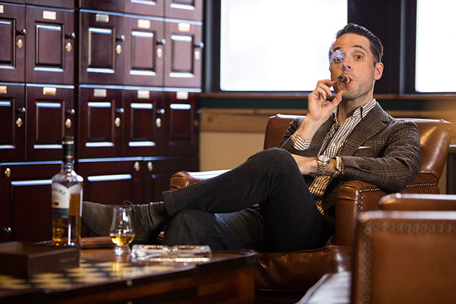 mens-outfit-idea-cigar-lounge-brown-plaid-blazer-gingham-shirt-smoking