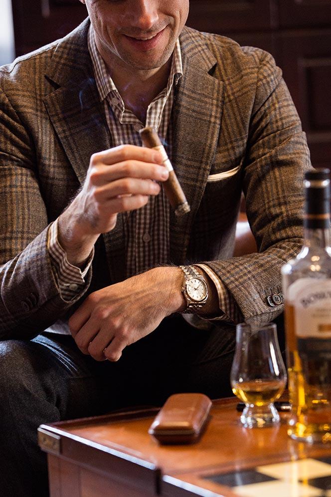 smoking-cigar-lounge-brown-plaid-blazer-gingham-shirt-rolex-watch