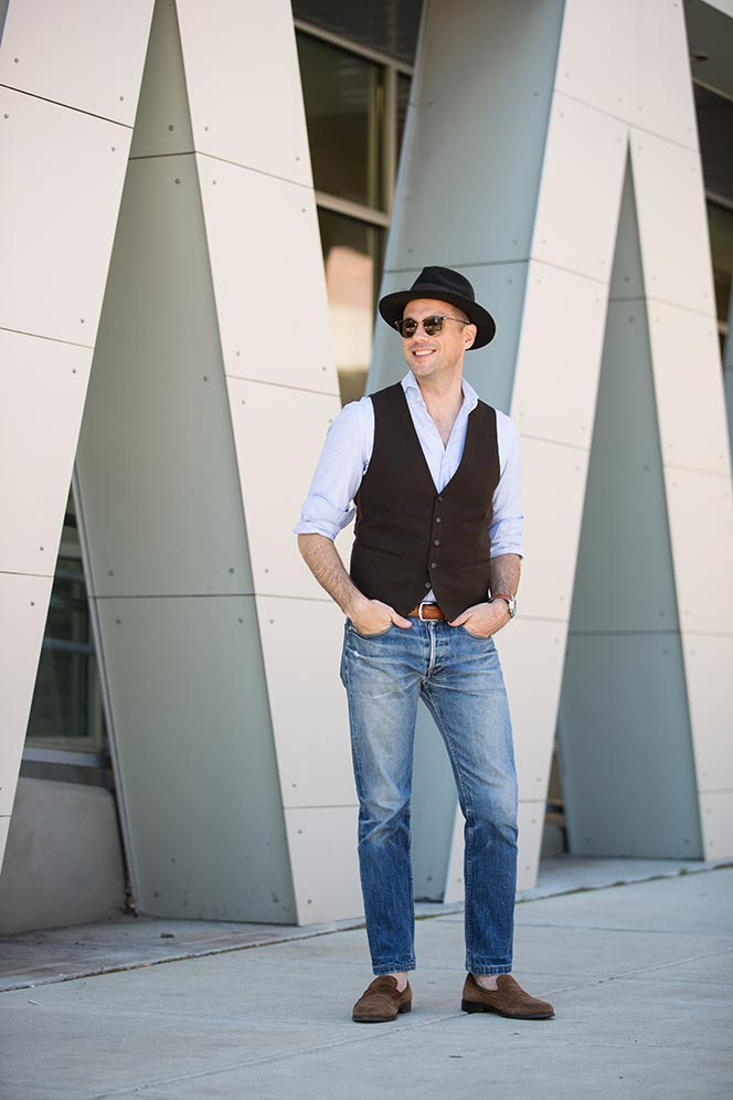 vest with jeans look