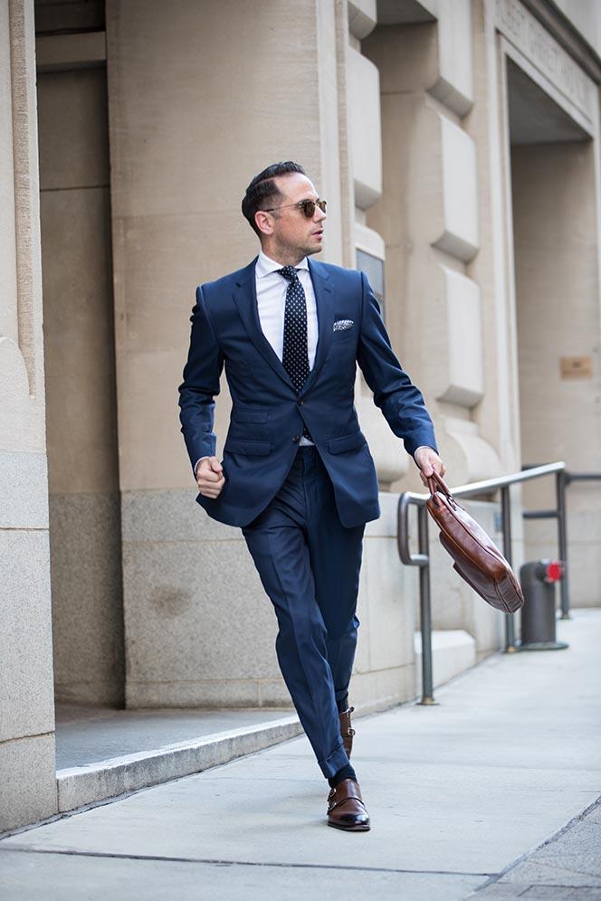 blue suit navy tie