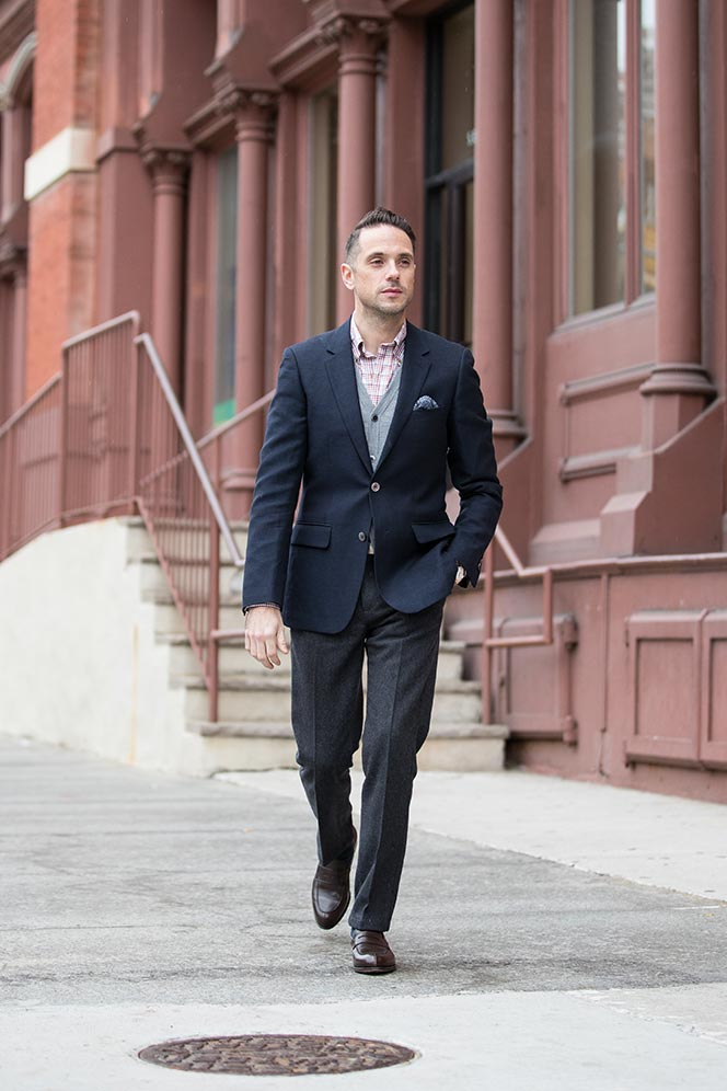 how-to-layer-cardigan-under-blazer-navy-grey-pants-smart-casual-business-outfit-idea-men-2