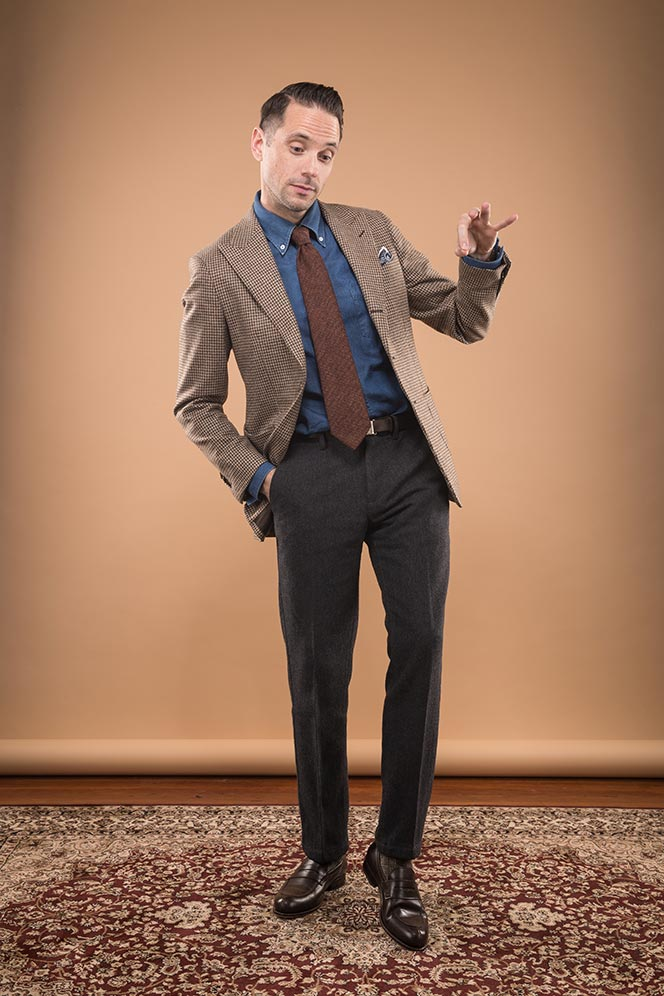 business-casual-wool-outfit-mens-winter-brown-blazer-denim-shirt-grey-pants-rust-colored-tie-chocolate-leather-loafers-4