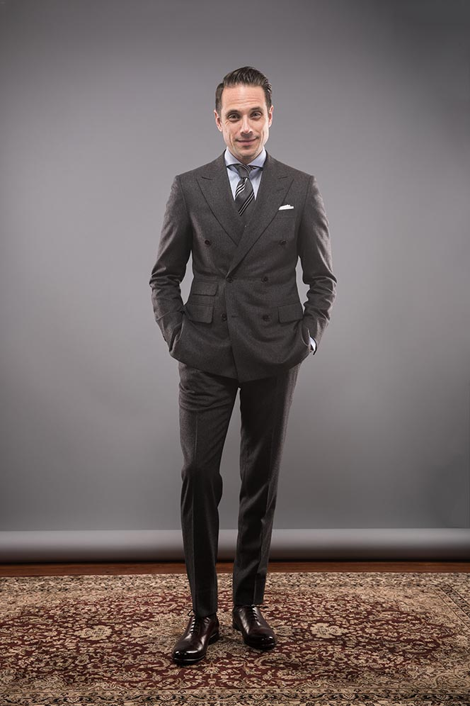 charcoal-grey-double-breasted-flannel-suit-striped-tie-blue-shirt-classic-mens-business-outfit-idea-for-winter-3
