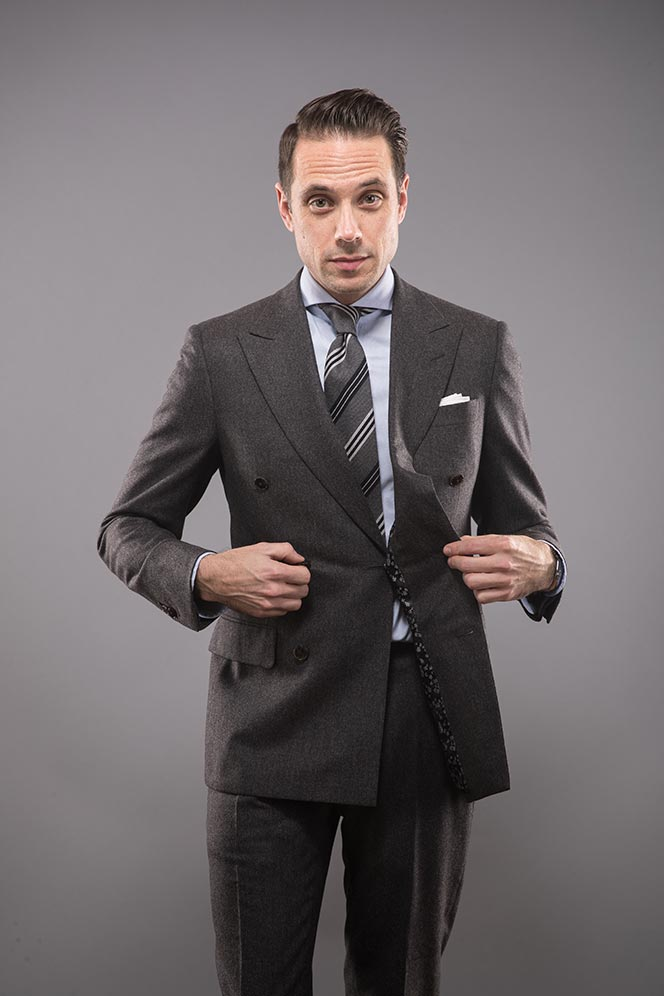 charcoal-grey-double-breasted-flannel-suit-striped-tie-blue-shirt-classic-mens-business-outfit-idea-for-winter-5