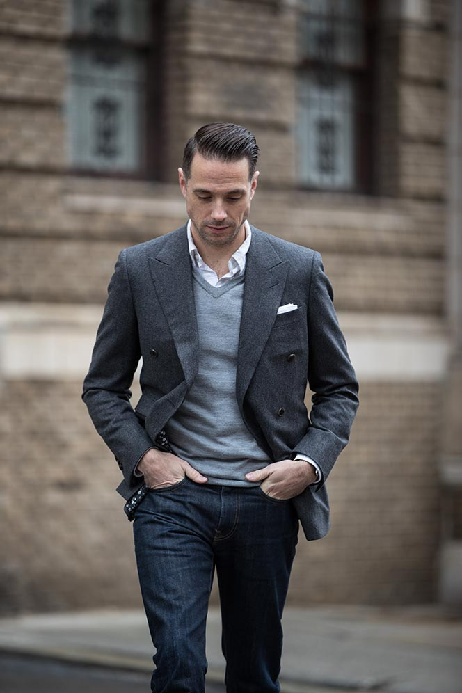 grey-flannel-double-breasted-blazer-with-sweater-shirt-jeans-boots-mens-smart-casual-outfit-ideas-fall-winter-7