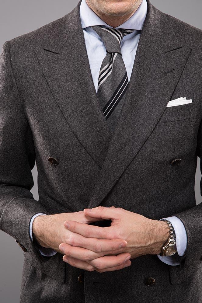 grey-flannel-double-breasted-suit-jacket-striped-tie-spread-cutaway-collar-shirt-deatils-peak-lapel