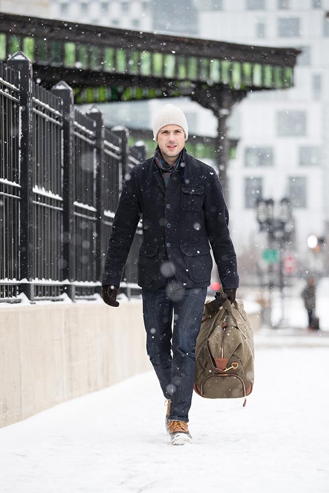 mens-outfit-for-when-it-snows-navy-peacoat-jeans-ll-bean-boots-bennett-winch-weekend-bag-6
