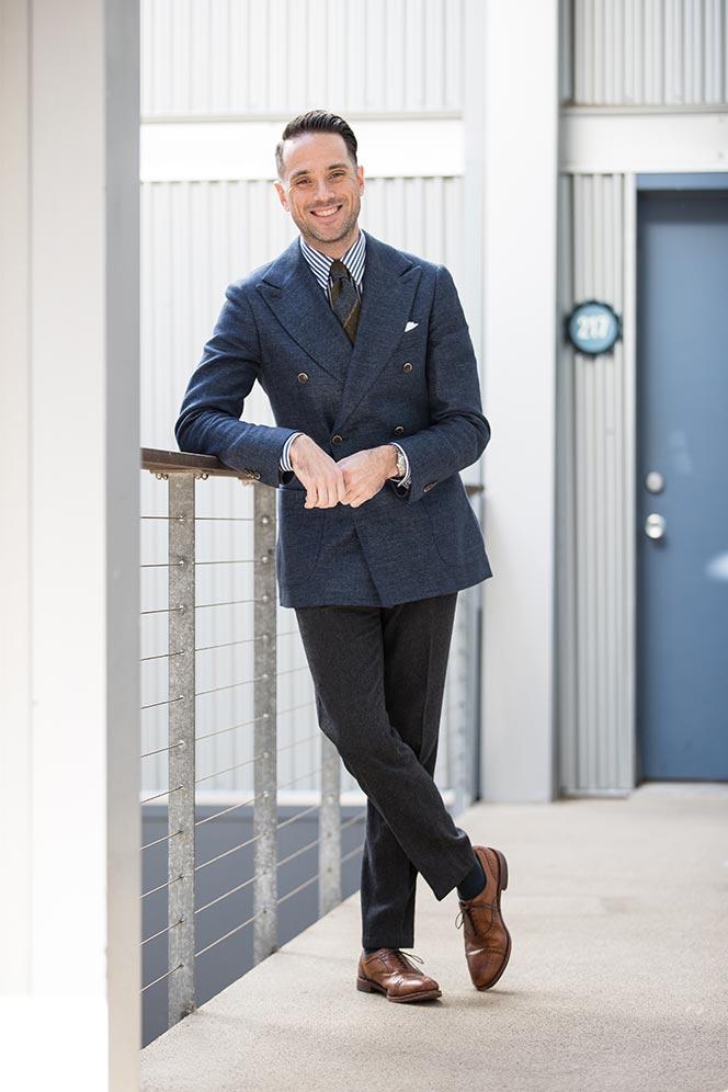 blue-double-breasted-blazer-striped-shirt-green-tie-seaward-stearn-walnut-leather-shoes-dapper-mens-outfit-ideas