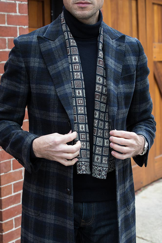 casual-valentines-day-date-outfit-idea-navy-turtleneck-silk-scarf-medalion-print-plaid-coat