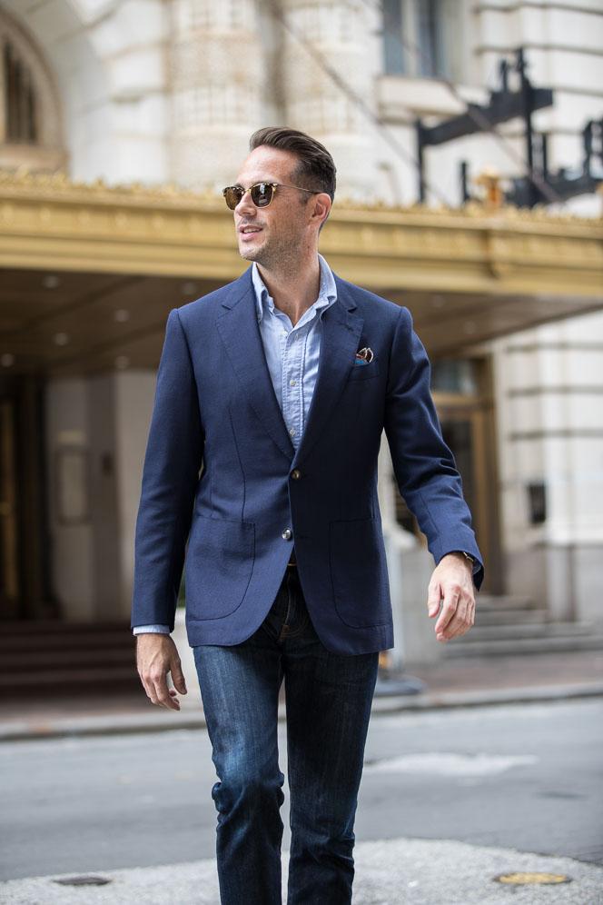navy suit jacket as blazer