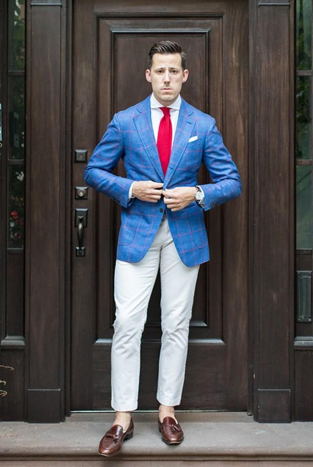bold pattern blazer outfit idea 2019