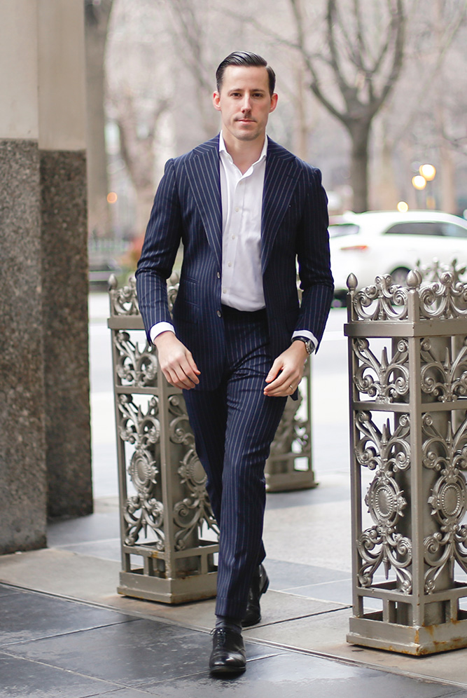 navy pinstripe suit outfit 2020