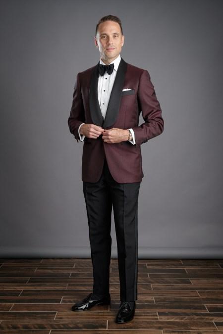 Burgundy tuxedo dinner jacket