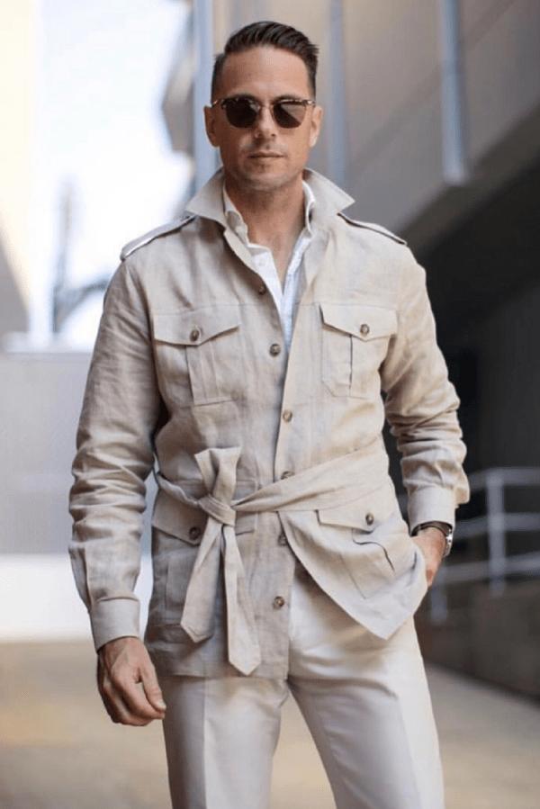 Stone Solid Linen Safari Shirt Jacket
