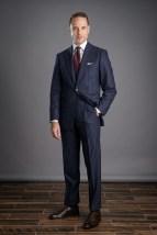Navy Blue Flannel Chalk Stripe Suit