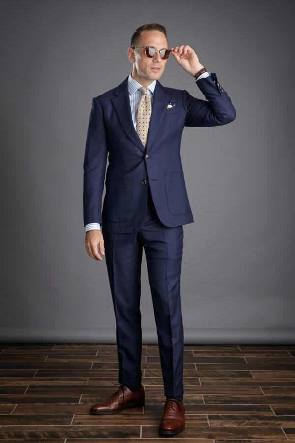 Navy Blue Hopsack Suit