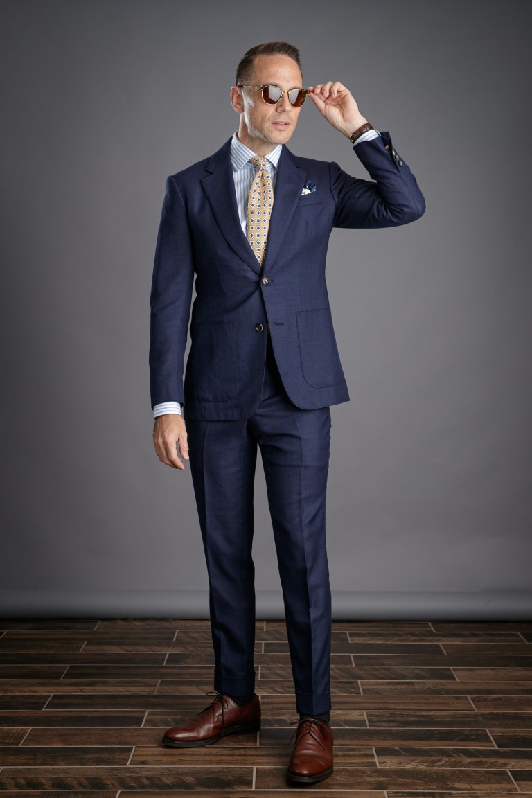 Navy Blue Hopsack Suit