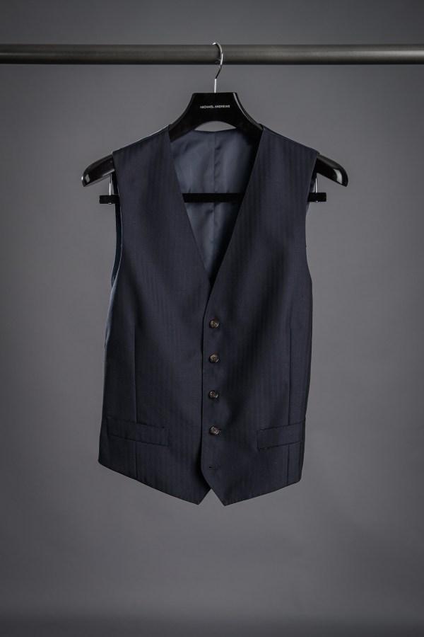 Dark Blue Herringbone Suit Vest