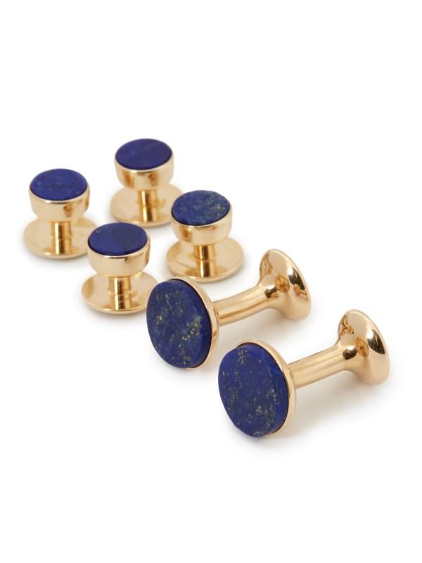 Lapis Lazuli Stud and Cufflink Set (Yellow Gold)