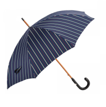 Navy Striped Umbrella with Blue Leather Handle