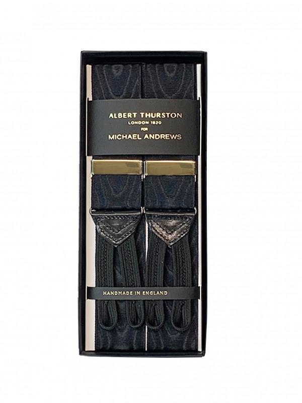 Black Moire Suspenders w Gold Hardware (Short)