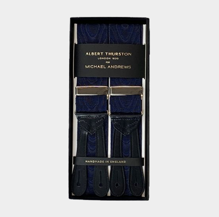 Navy Moiré Suspenders w/ Silver Hardware