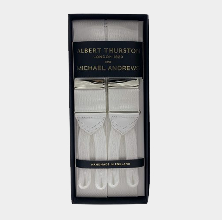 White Suspenders w/ Silver Hardware