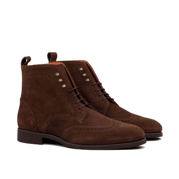 Dark Brown Suede Military Brogue Boot