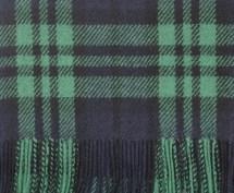 Chatham Navy, Black & Mid Green Heritage Modern Tartan Classic Cashmere Scarf