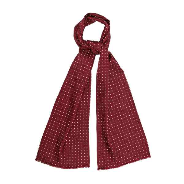 Burgundy Silk Scarf with White Dots