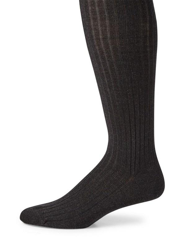Charcoal Merino Ribbed Over the Calf Dress Socks