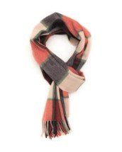 Scarlet New Blue Green Framed Buffalo Check Cashmere Scarf