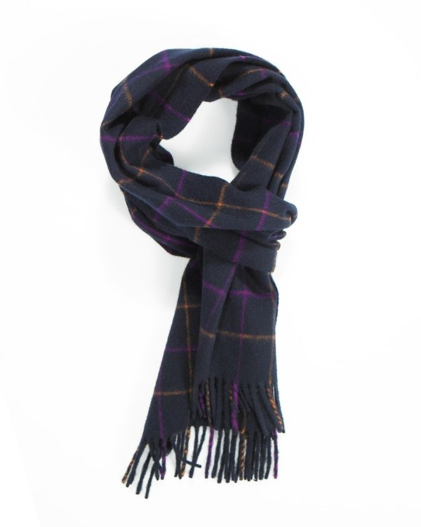 Navy Orange Fuchsia Tattersall Cashmere Scarf