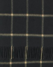 Black Sand Windowpane Wide Cashmere Scarf