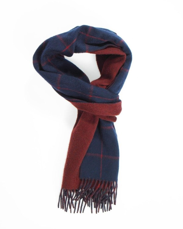 Bright Navy Red Claret Windowpane On Plain Double Faced Cashmere Scarf