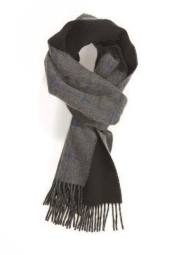 Grey Bright Blue Black Windowpane On Plain Double Faced Cashmere Scarf