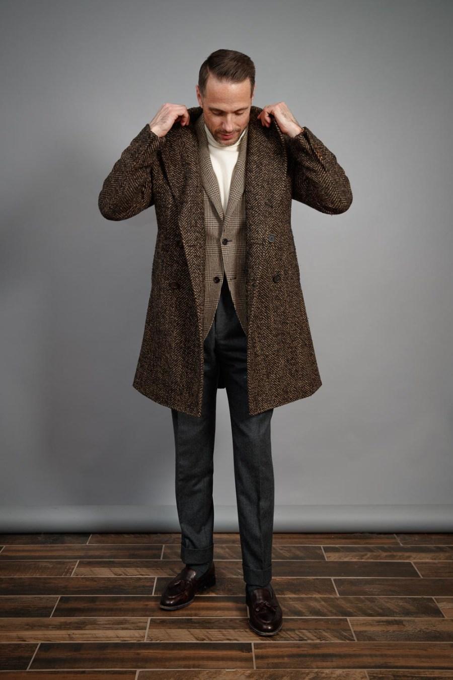 best-flannel-suit-ideas-for-men-turtleneck-and-overcoat-suede-tassel-loafers