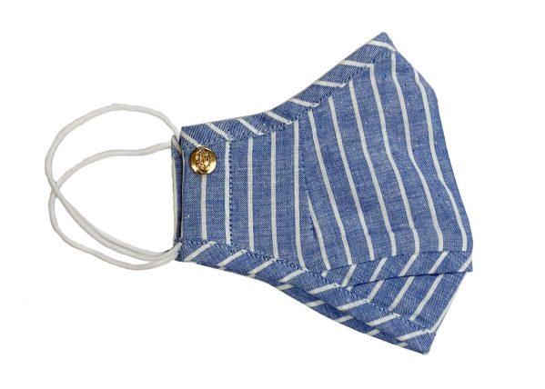 Blue Linen Chalk Stripe Mask