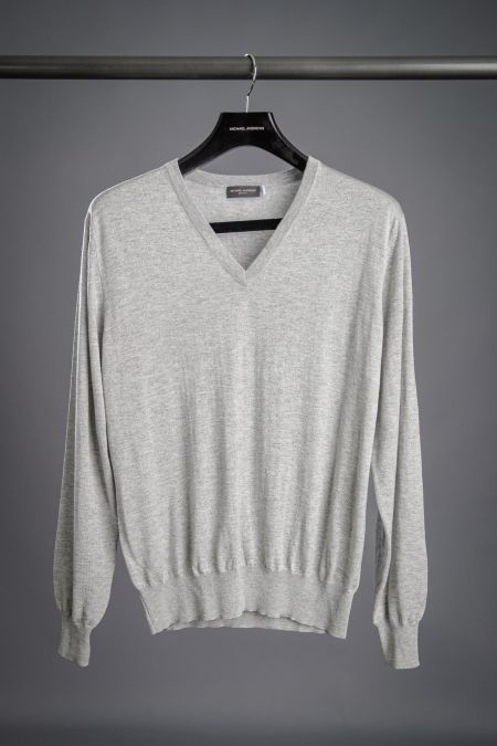 grey silk cashmere V-neck sweater