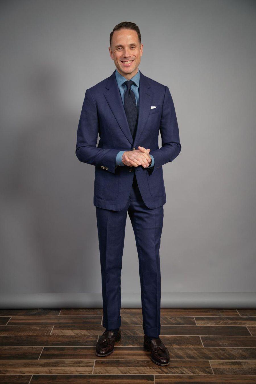 mens-capsule-wardrobe-navy-hopsack-suit-denim-shirt-tassel-loafers-grenadine-tie