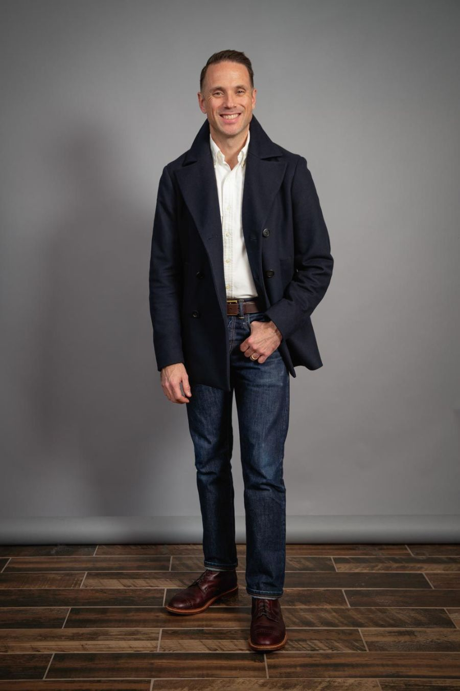 navy-peacoat-for-men-bostonian-boots-and-jeans-white-oxford-shirt