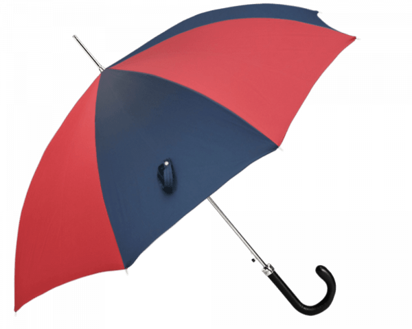 Red and Navy Panel Umbrella with Navy Padded Leather Handle