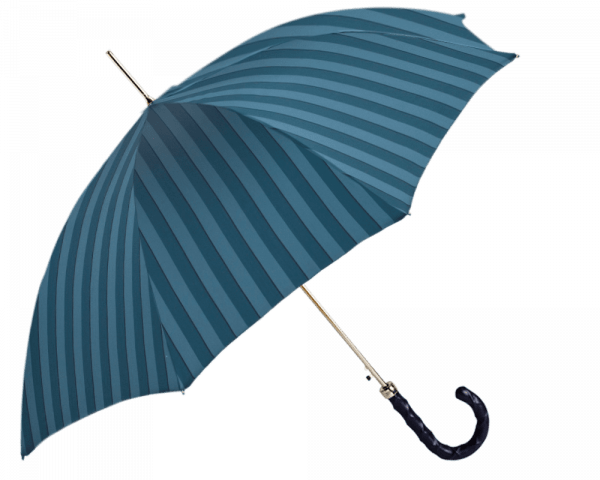 Teal Wide Stripe Umbrella with Navy Cross Hatched Leather Handle