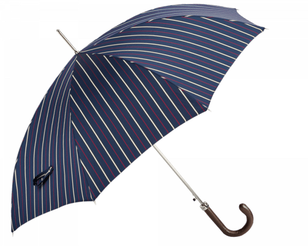 Navy, Red/White Stripe Umbrella with Brown Padded Leather Handle