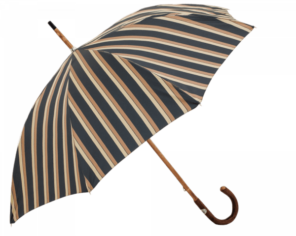 Navy, Tan Wide Multicolor Awning Stripe Umbrella with Solid Elm Handle