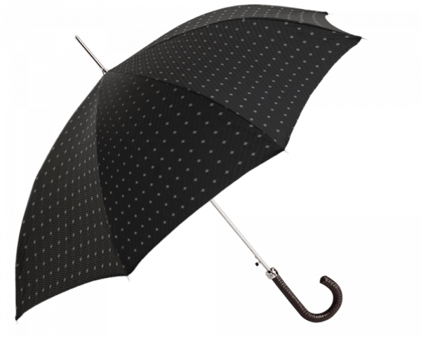 Black Dotted Stripe Umbrella with Black Braided Leather Handle