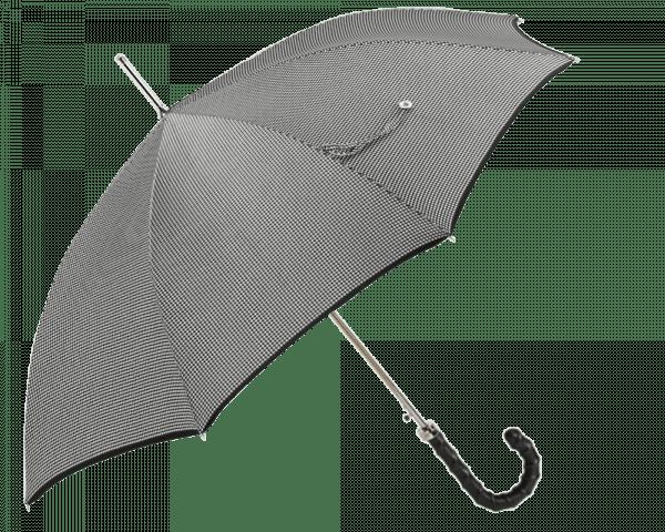 Black & White Houndstooth Umbrella w/Black Trimmed Edge & Black Ribbed Leather Handle