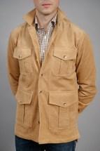 Light Brown Stretch Corduroy Safari Shirt Jacket