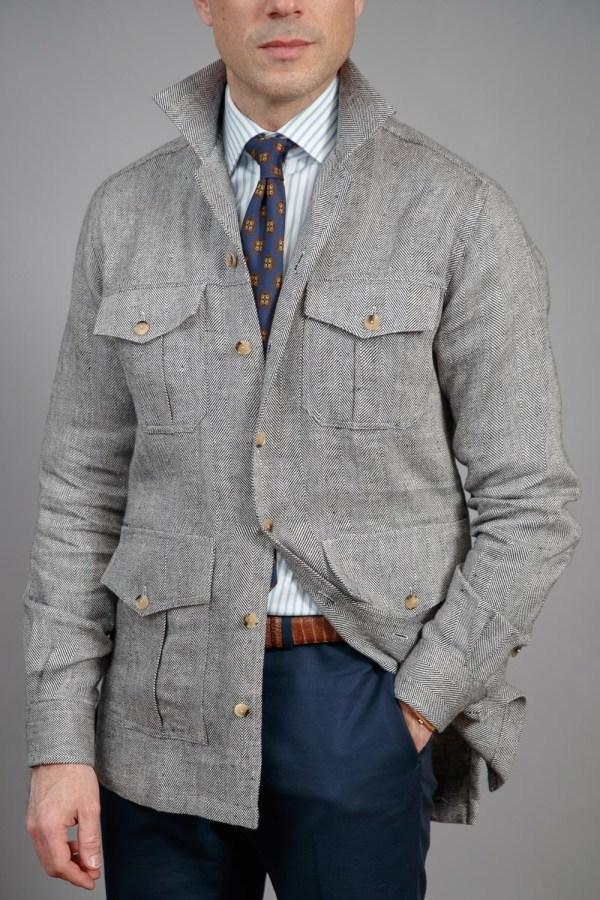 Black & White Herringbone Linen Safari Shirt Jacket